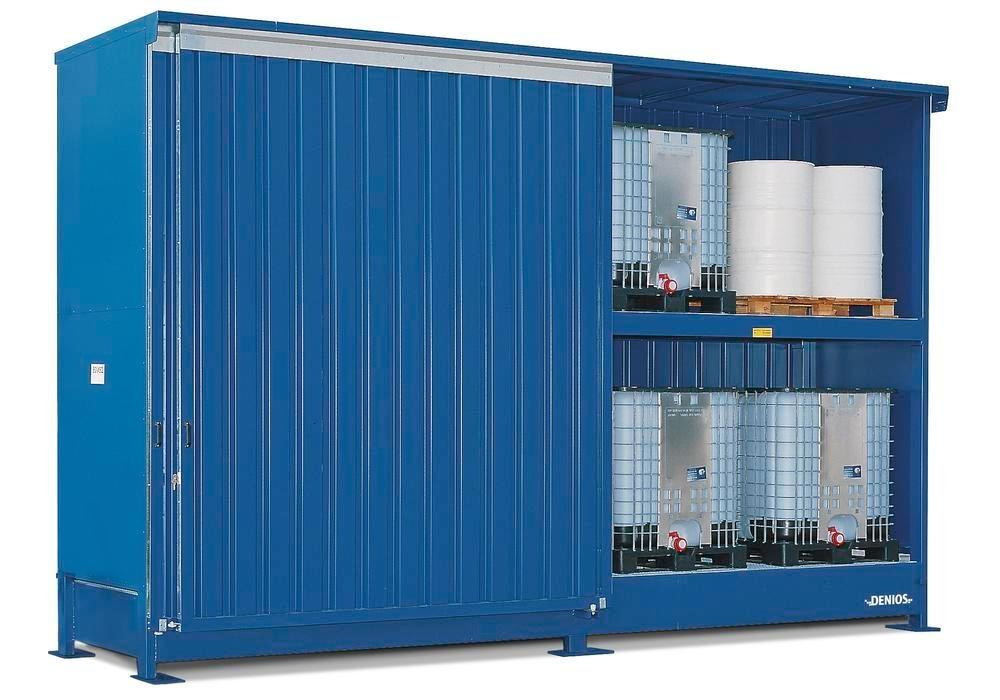 Hazardous materials store SC-K, storage container with shelving for IBCs