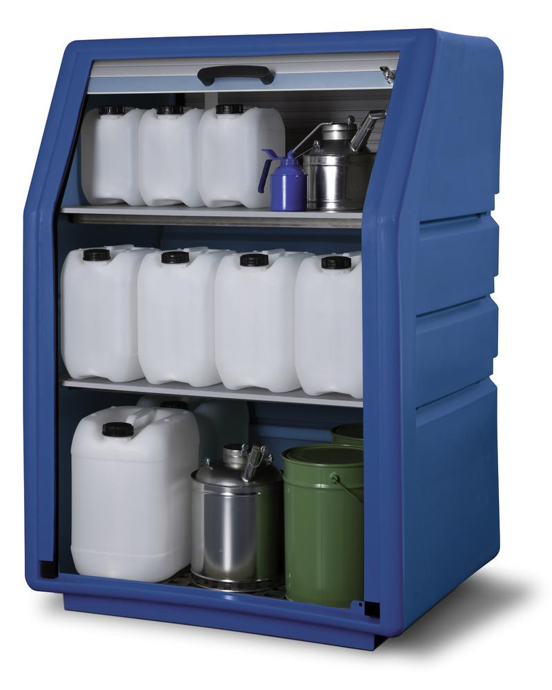 Oil / acid & alkali storage cabinet PolySafe PSR 8.8, polyethylene, with roller shutter door, blue