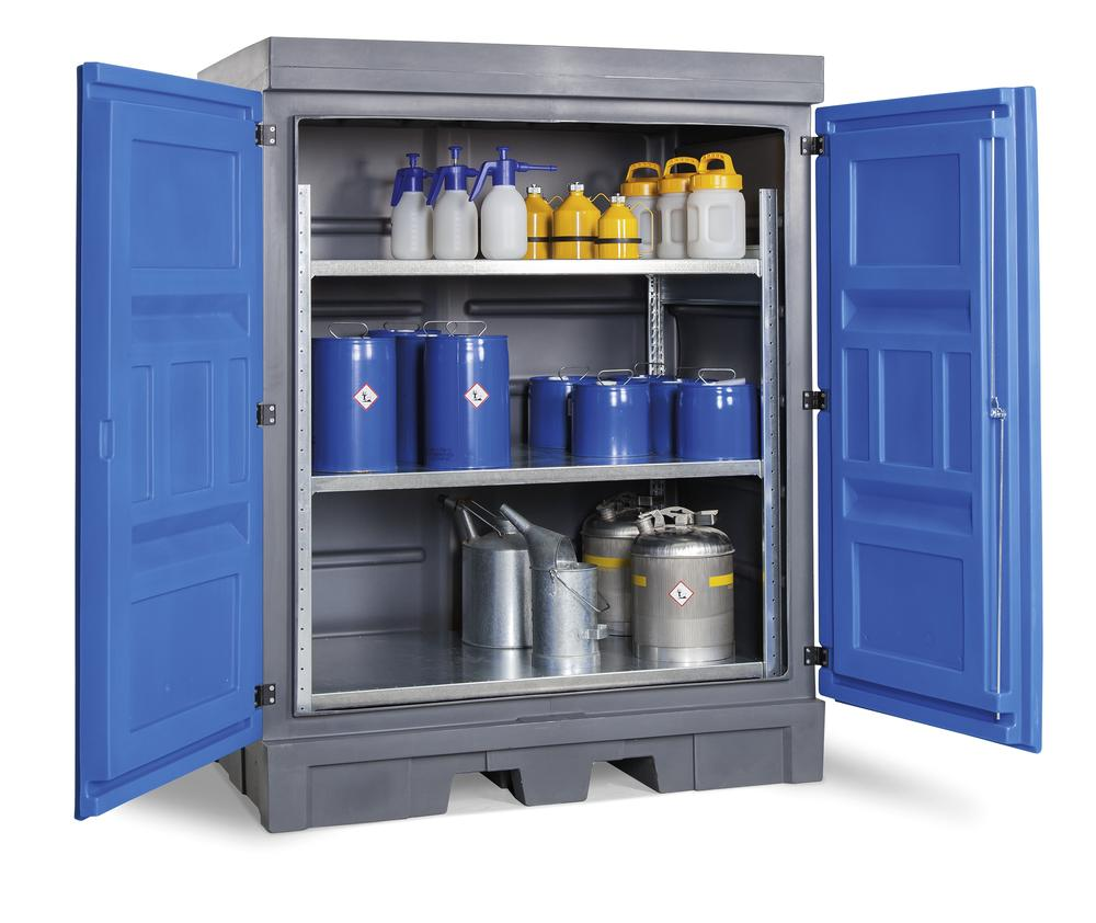 PolySafe Depot D, with steel shelf, for small containers