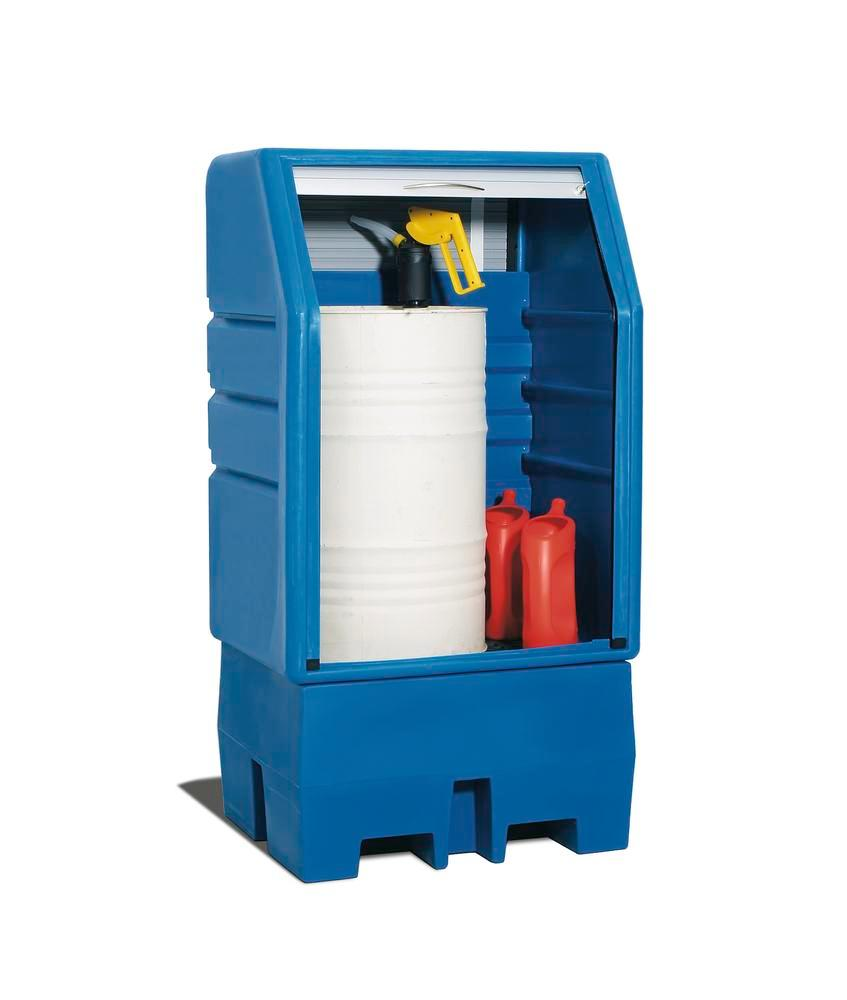 PolySafe depot PSR 8.8 manufactured from polyethylene (PE) , blue, with a galvanized grid