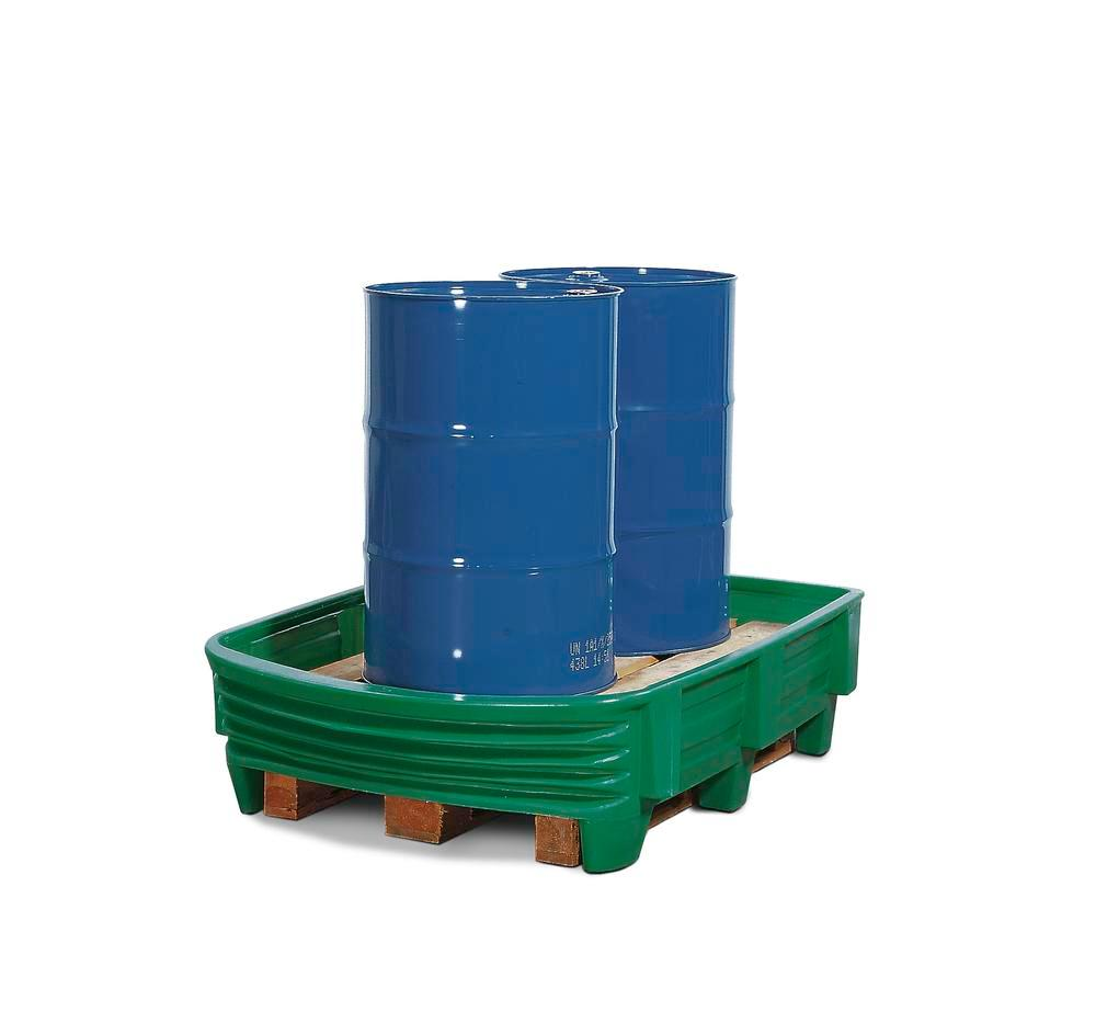 Spill guard pallet converters, polyethylene, for 2x205 litre drums, without pallet, 225 ltr capacity