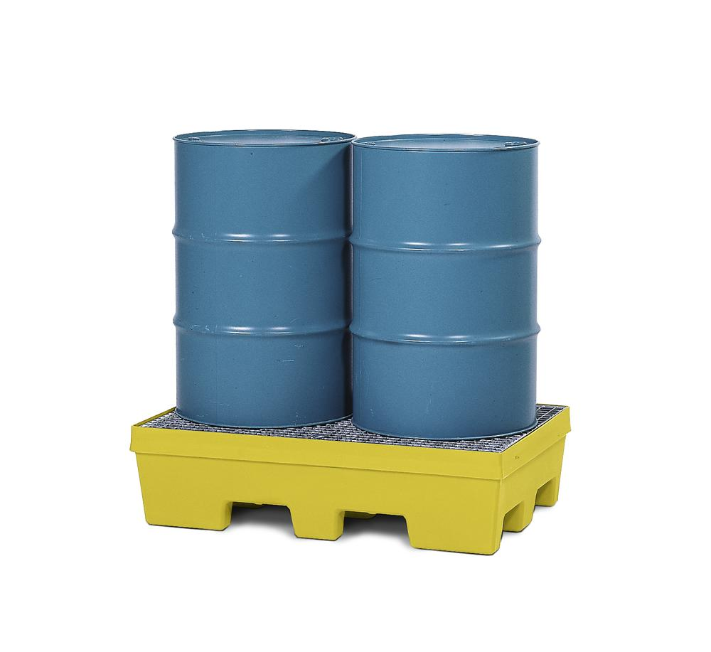 Spill pallet PolySafe PSP 2.2 in PE, yellow, forklift pockets and galv grid, for 2 x 205 litre drums - 1