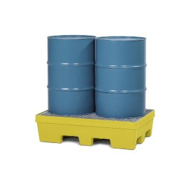 Spill pallet PolySafe PSP 2.2 in PE, yellow, forklift pockets and galv grid, for 2 x 205 litre drums-w280px