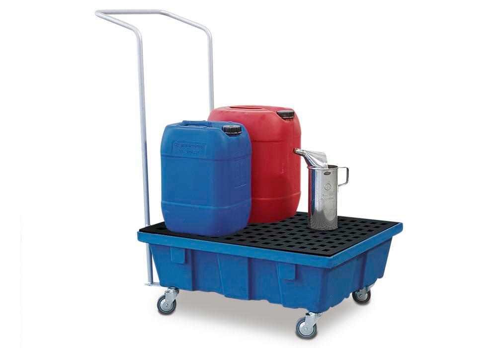 Spill tray for small containers classic-line in polyethylene (PE) with castors and PE grid, 60 litre - 2