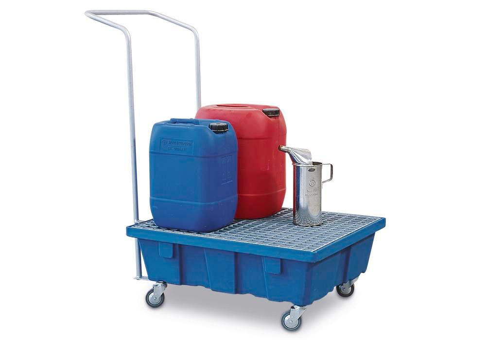 Spill tray for small containers classic-line in polyethylene (PE) with castors, galv. grid, 60 litre