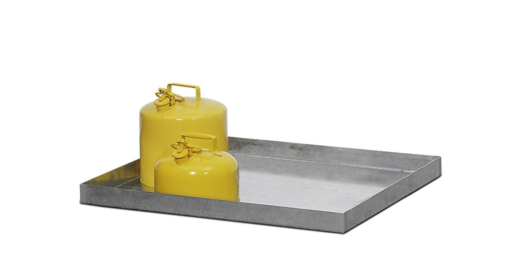 Spill tray GRW 13.4, galvanized steel, 25 litre capacity