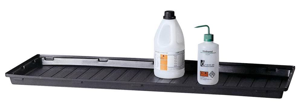Spill tray liner, polyethylene, for use with painted shelf when storing aggressive media