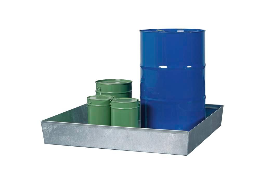 Sump pallet Basic E, galvanized steel, without forklift pockets & grid, for 2x205 litre drum