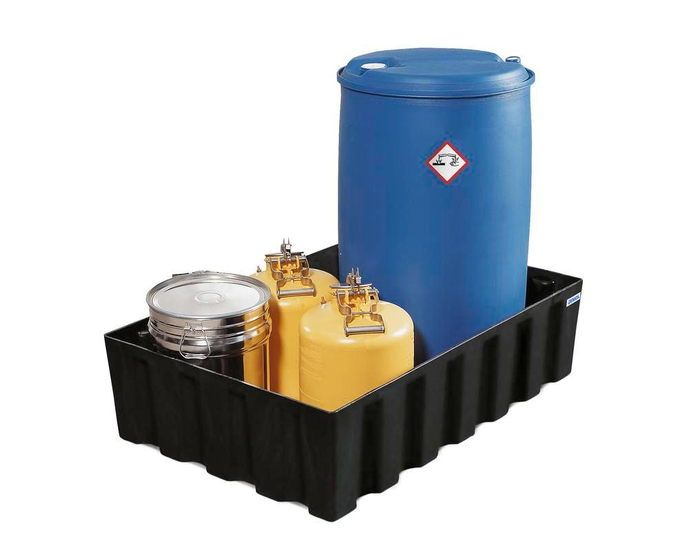 Sump pallet PolySafe Euro, polyethylene, for 2x205 litre drums, 230 litre capacity