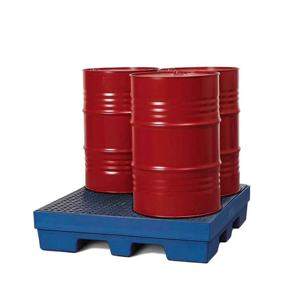 Sump pallet PolySafe PSP 2.4, polyethylene, with PE grid, 270 litre capacity, blue - 1