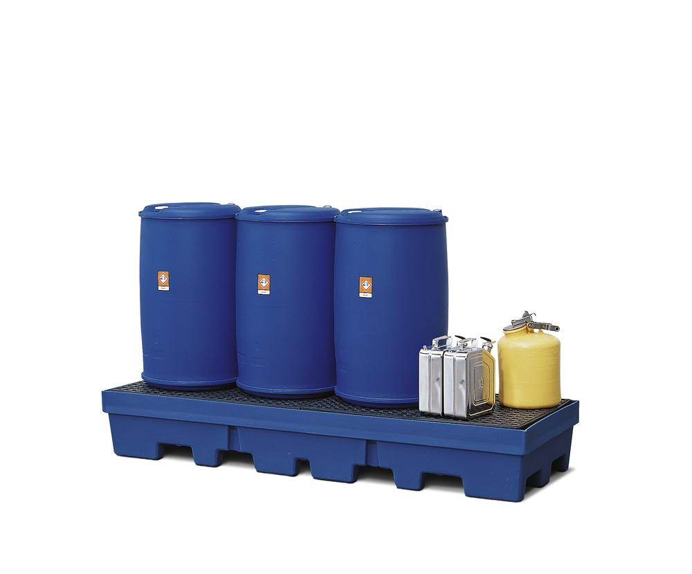 Sump pallet PolySafe PSP 2.4-R, polyethylene, with PE grid, 420 litre capacity, blue
