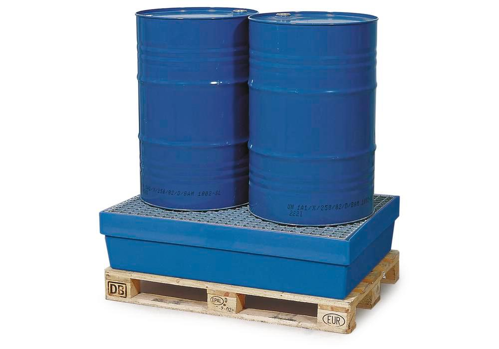 Sump pallet PolySafe PSW 2.2, polyethylene, with galvanized grid, 225 litre capacity, blue
