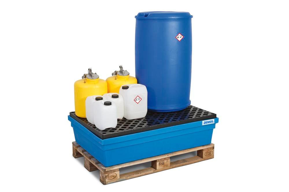 Sump pallet PolySafe PSW 2.2, polyethylene, with PE grid, 225 litre capacity, blue