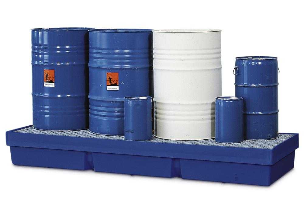 Sump pallet PolySafe PSW 2.4-R, polyethylene, with galvanized grid, 420 litre capacity, blue