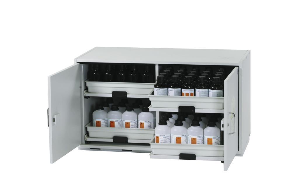 asecos acid and alkali cabinet SL 114 with 2-wing door and 4 slide-out spill trays