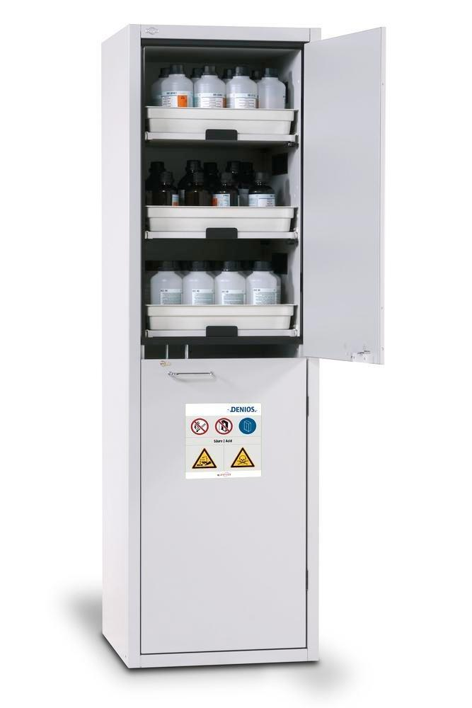asecos acid and alkali cabinet SL 606 with door hinged right and 6 slide-out spill trays
