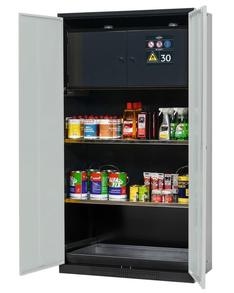asecos chemicals cabinet Systema-Plus, anthracite, grey, safety box and shelves, Model CS-30