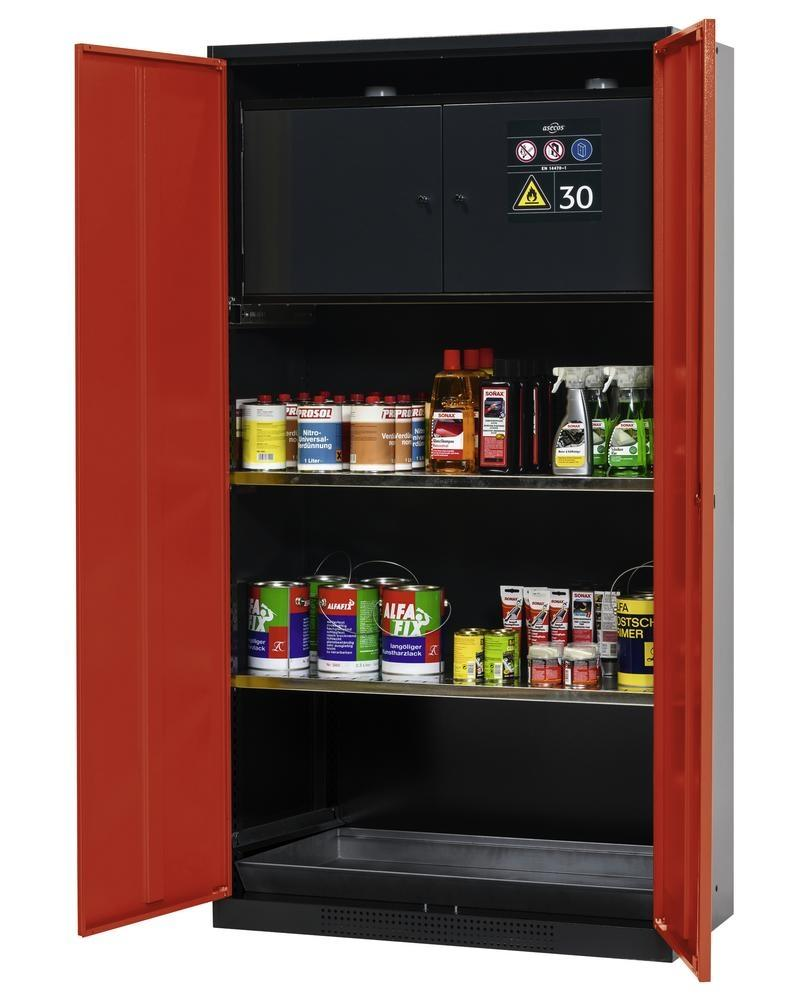 asecos chemicals cabinet Systema-Plus, anthracite, red, safety box and shelves, Model CS-30