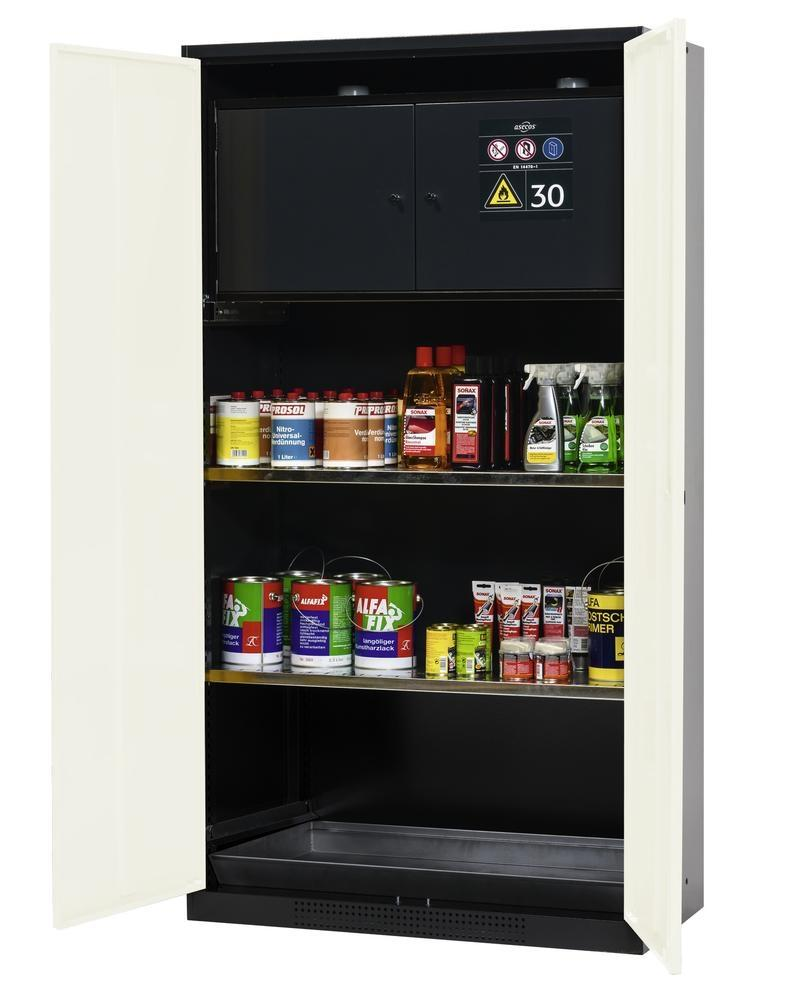 asecos chemicals cabinet Systema-Plus, anthracite, white, safety box and shelves, Model CS-30