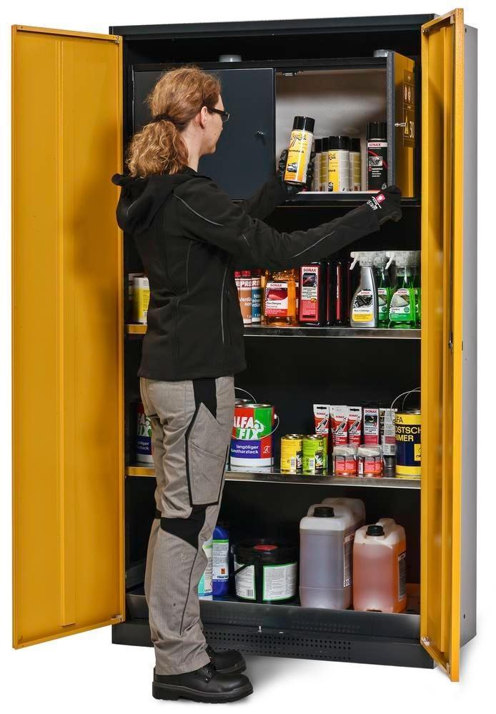 asecos chemicals cabinet Systema-Plus, anthracite, yellow, safety box and shelves, Model CS-30