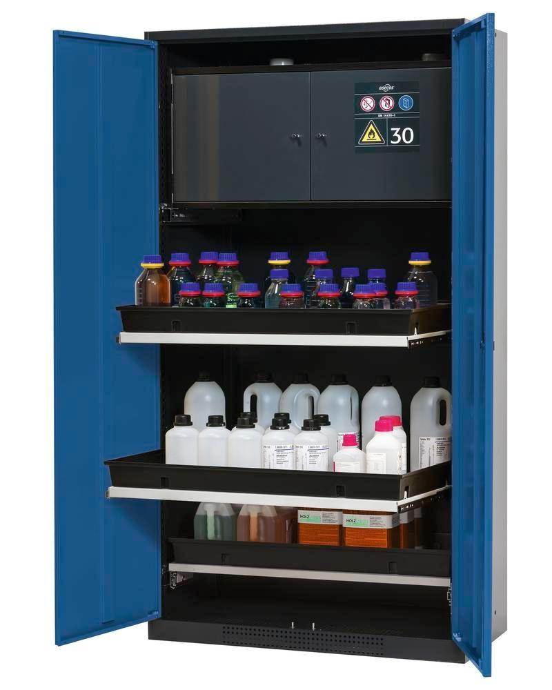 asecos chemicals cabinet Systema-Plus-T, anthracite, blue, safety box, pull-out shelves, Model CS-30