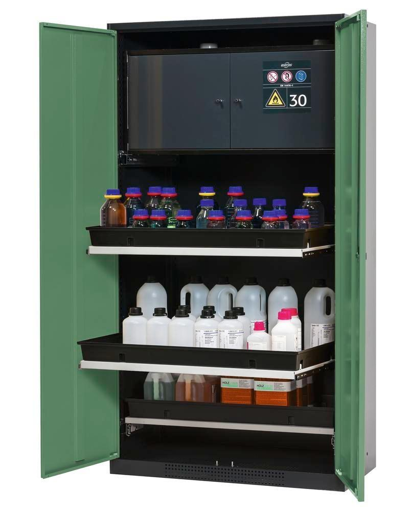 asecos chemicals cabinet Systema-Plus-T, anthracite, green, with safety box, pull-out shelves