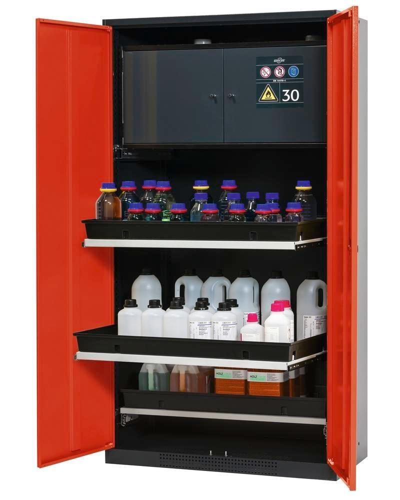 asecos chemicals cabinet Systema-Plus-T, anthracite, red, safety box, pull-out shelves, Model CS-30