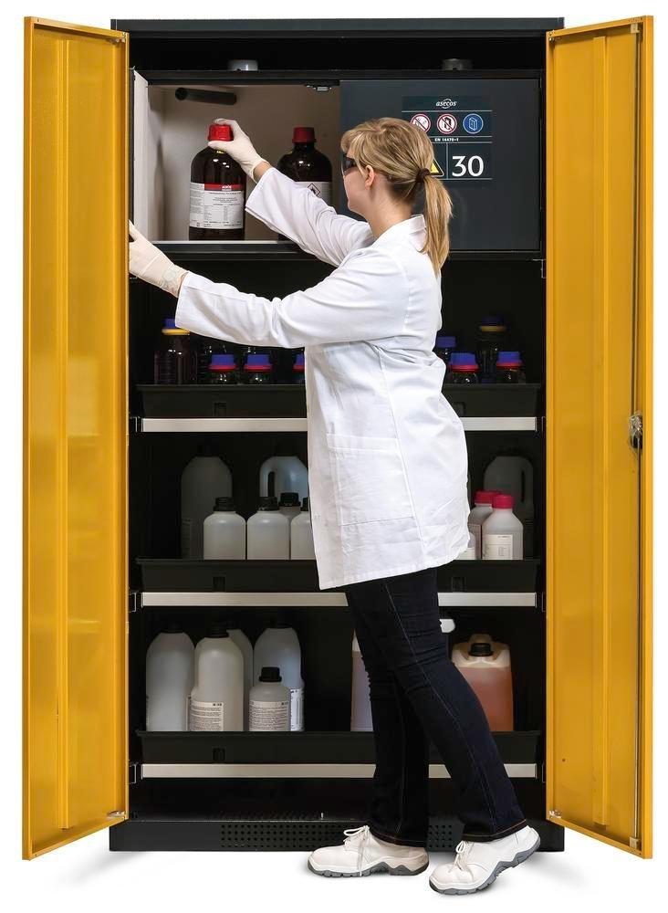 asecos chemicals cabinet Systema-Plus-T, anthracite, yell, safety box, pull-out shelves, Model CS-30
