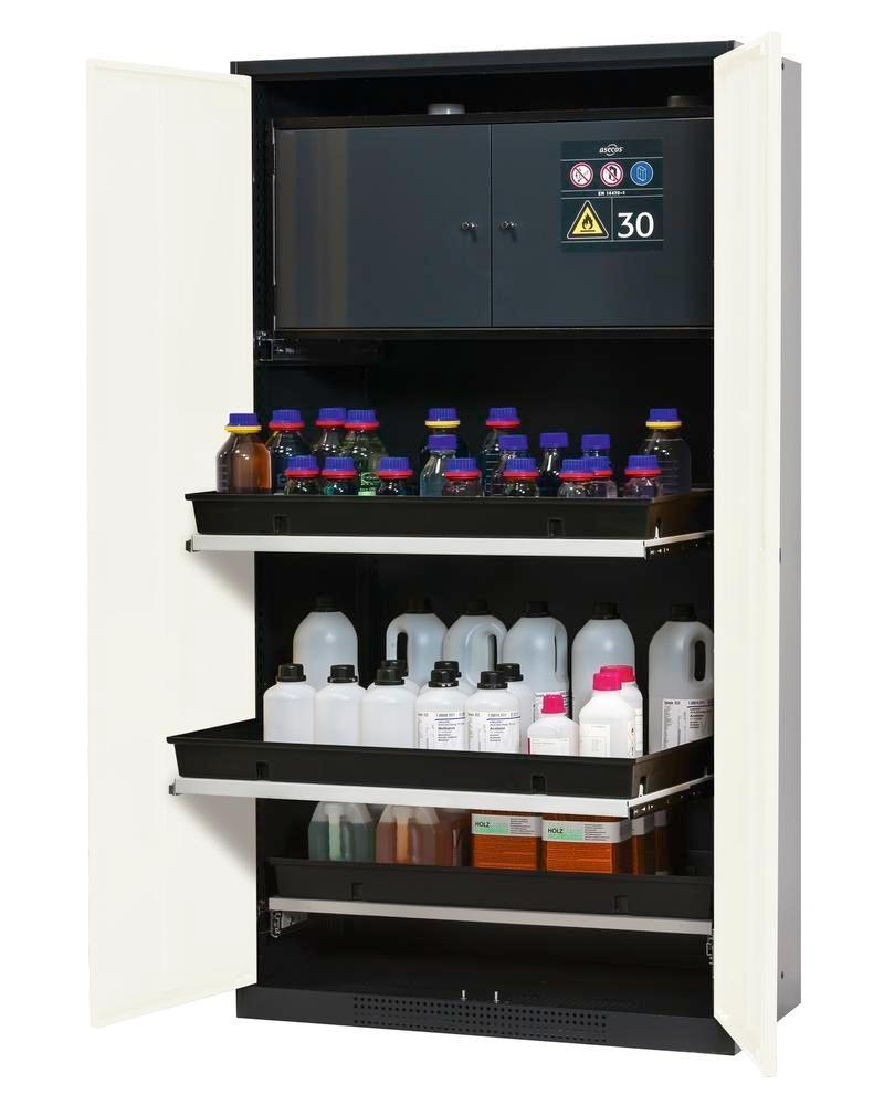 asecos chemicals cabinet Systema-Plus-T, anthracte, white, safety box, pull-out shelves, Model CS-30