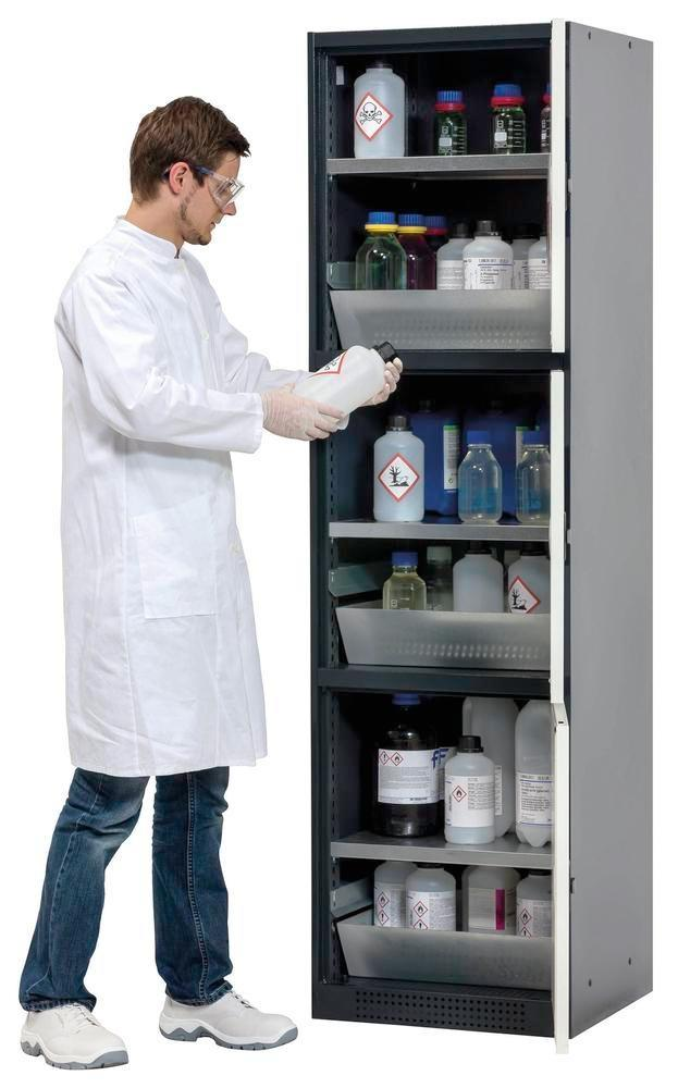 asecos combi cabinet Quadro, anthracite/white, 3 bays, each w. shelf and spill pallet