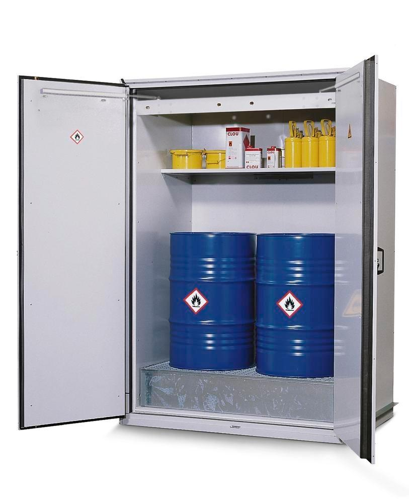 asecos fire-rated drum cabinet VbF 90.2 with shelf