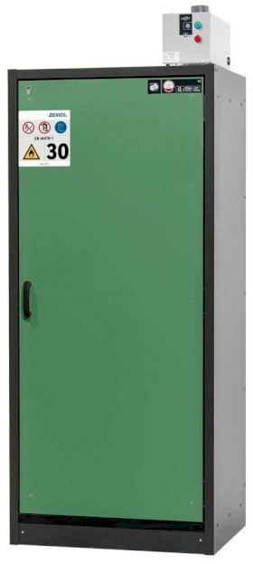 asecos fire-rated hazardous materials cabinet Basis-Line, anthracite/green, 3 shelves, Model 30-93R-w280px