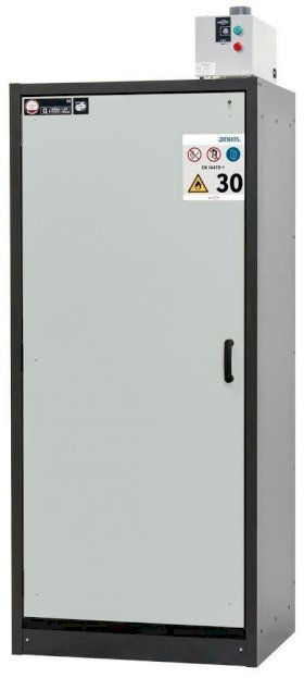 asecos fire-rated hazardous materials cabinet Basis-Line, anthracite/grey, 3 shelves, Model 30-93L-w280px