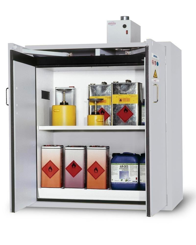 asecos fire-rated hazardous materials cabinet G 1200-F with wing doors, grey