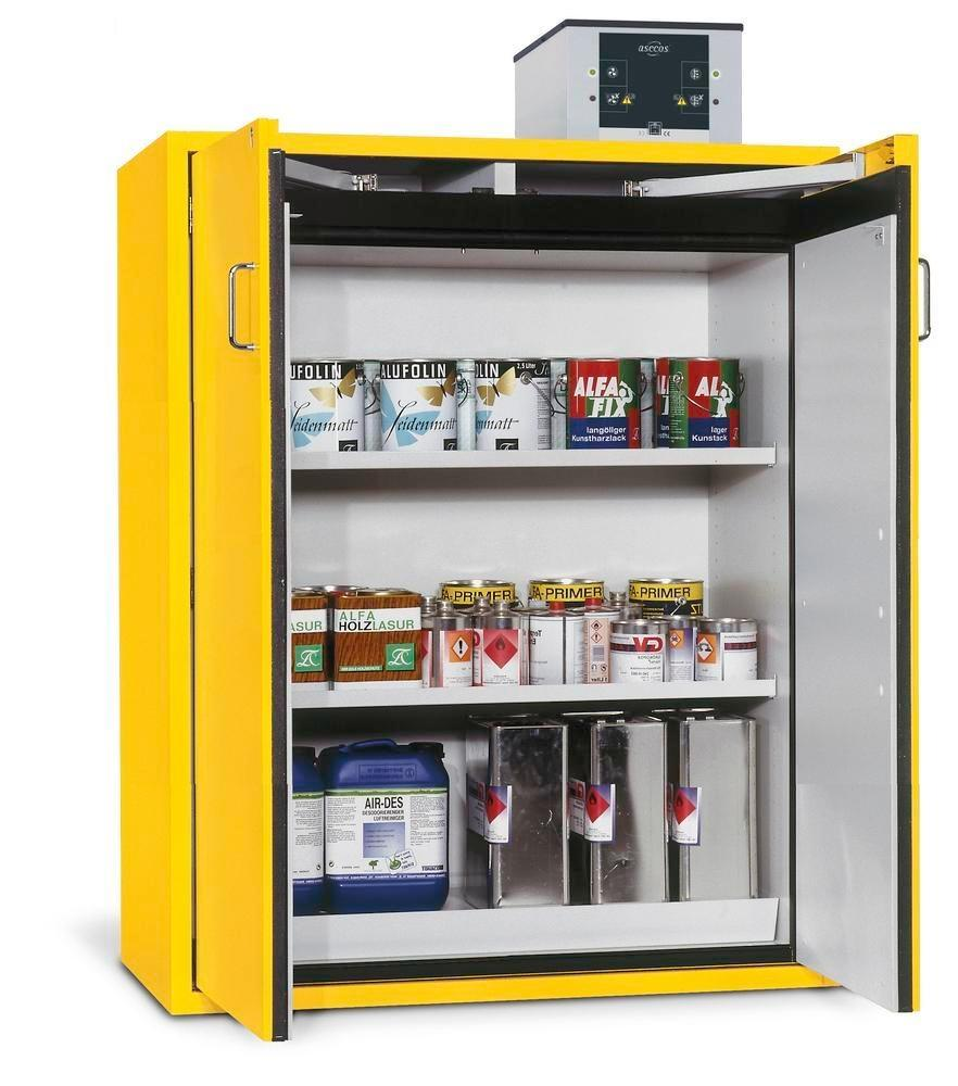 asecos fire-rated hazardous materials cabinet G 1200-F with wing doors, yellow