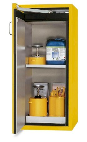 asecos fire-rated hazardous materials cabinet G 600-F with 1 shelf, door hinged right, yellow-w280px