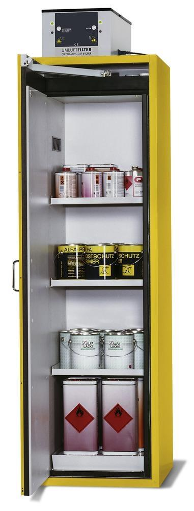 asecos fire-rated hazardous materials cabinet G-601, with 3 shelves, door hinged left, yellow