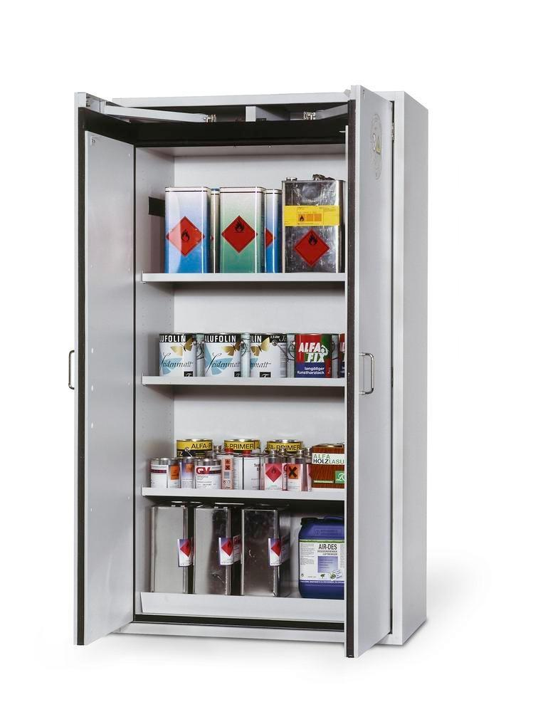 asecos fire-rated hazardous materials cabinet G 901 with 3 shelves, wing doors, grey