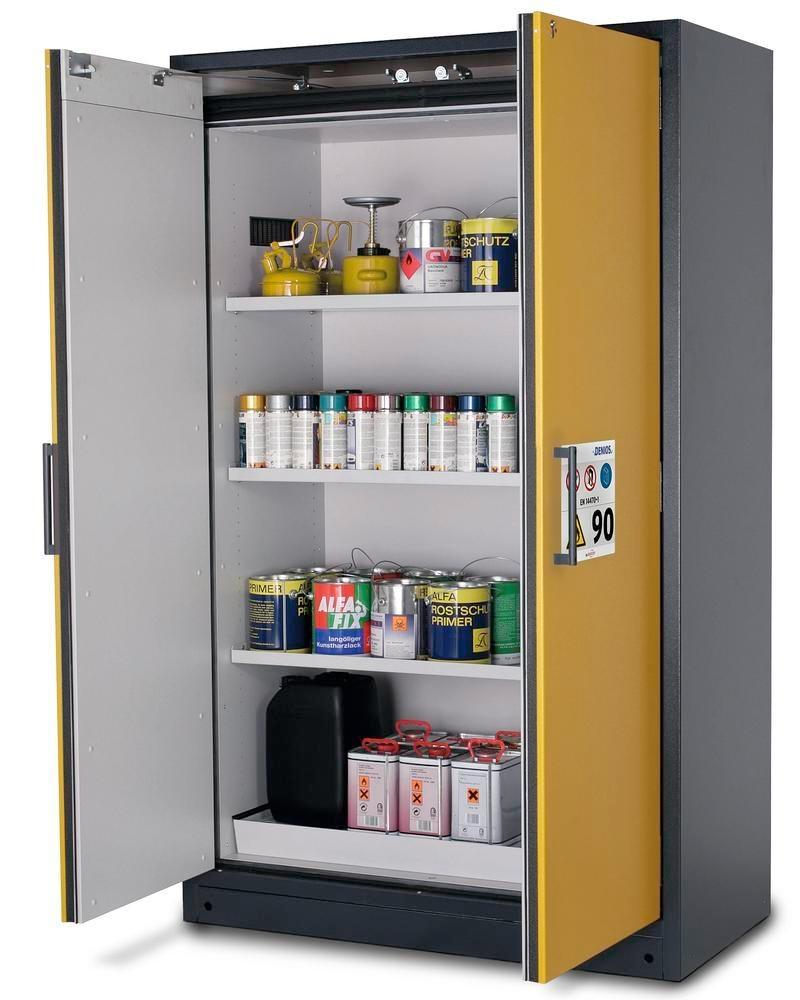 """asecos fire-rated hazardous materials cabinet Select W-123-O """"one touch"""", 3 shelves, doors yellow"""