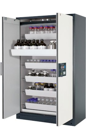 asecos fire-rated hazardous materials cabinet Select W-126, 6 slide-out spill trays, doors white-w280px