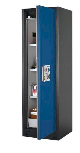 asecos fire-rated hazardous materials cabinet Select W-63R, 3 shelves, door blue (right)-w280px