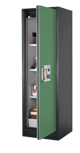 asecos fire-rated hazardous materials cabinet Select W-63R, 3 shelves, door green (right)-w280px