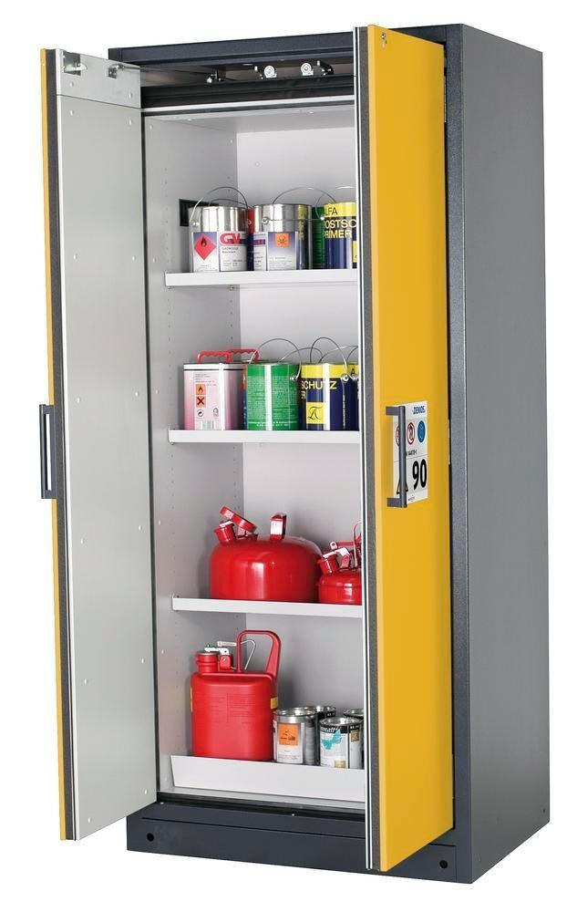 asecos fire-rated hazardous materials cabinet Select W-93, 3 shelves, doors yellow
