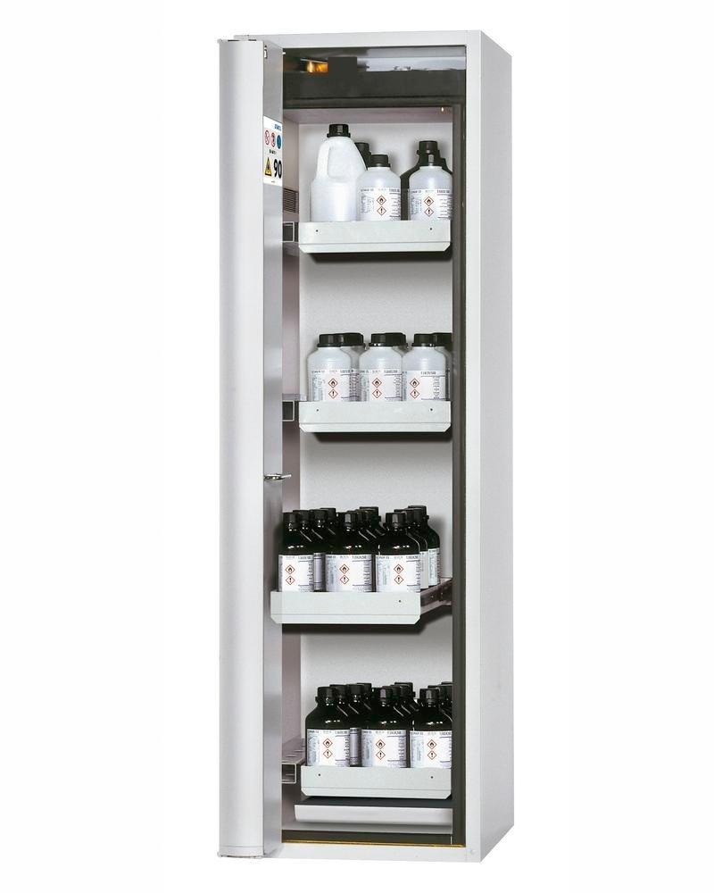 asecos fire-rated hazmat cabinet, 4 slide-out spill trays, door hinged left, grey, depth 749 mm