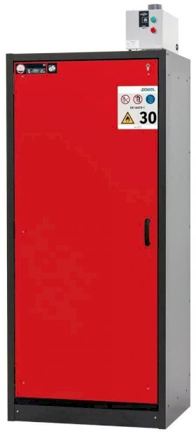 asecos fire-rated hazmat cabinet Basis-Line, anthracite/red, 4 slide-out spill trays, Model 30-94L-w280px