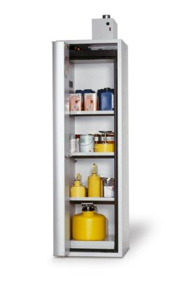 asecos fire-rated hazmat cabinet Edition, 3 shelves, folding door right, grey, Model G 63-w280px