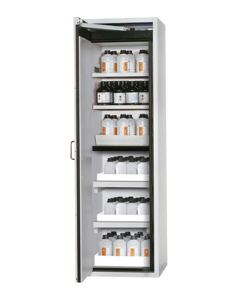 asecos fire-rated hazmat cabinet Edition with shelves and spill trays, floor spill pallet, grey