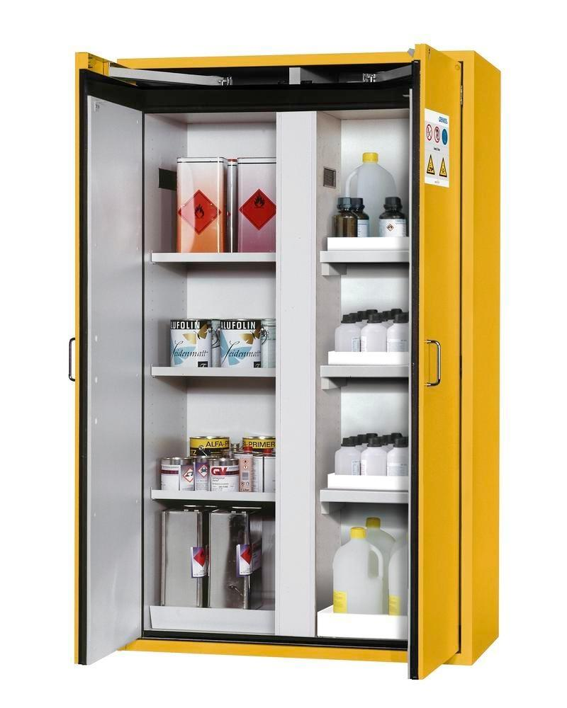 asecos fire-rated hazmat cabinet Edition with shelves and spill trays, floor spill pallet, yellow