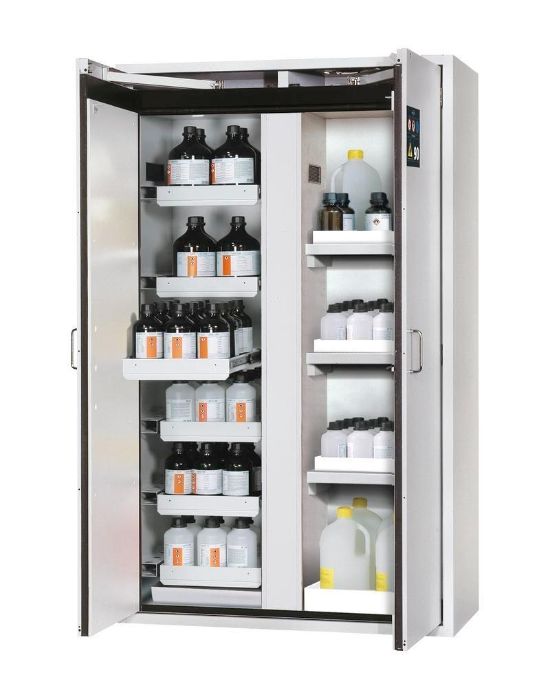 asecos fire-rated hazmat cabinet Edition with slide out shelves and spill trays, grey, W 1196 mm