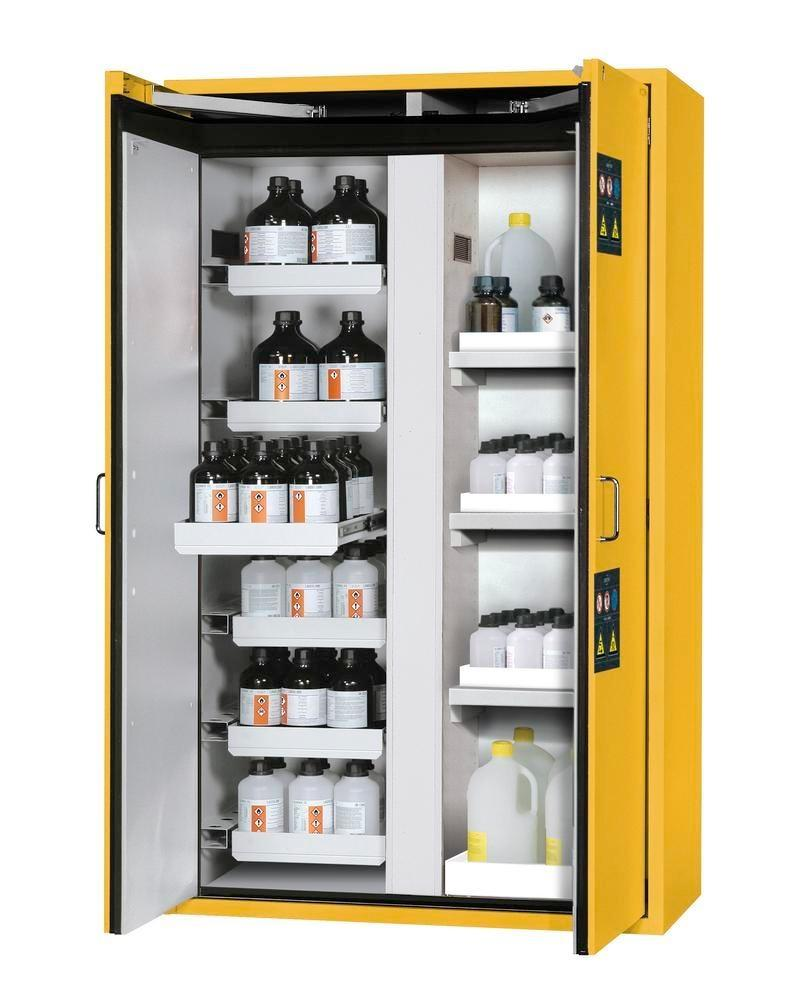 asecos fire-rated hazmat cabinet Edition with slide out shelves and spill trays, yellow, W 1196 mm
